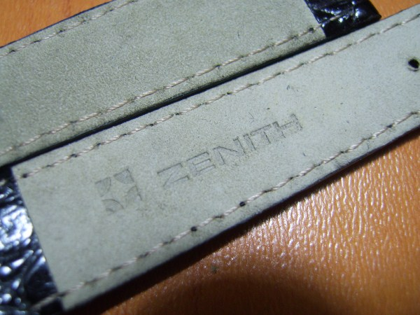 ZENITH : VINTAGE NOS ZENITH 15X13 MM BLACK CROCODILE BAND STRAP