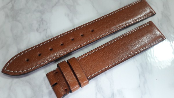 CARTIER TANK OEM 18X16MM LIGHT BROWN LEATHER BAND STRAP