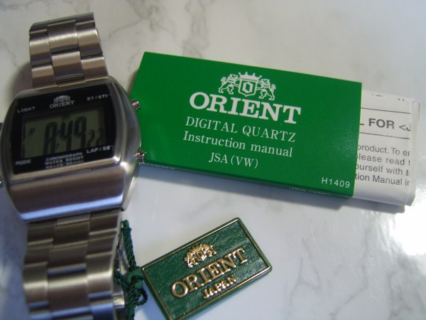 VINTAGE NOS ORIENT DIGITAL QUARTZ CHRONOGRAPH + INSTRUCTION MANUAL