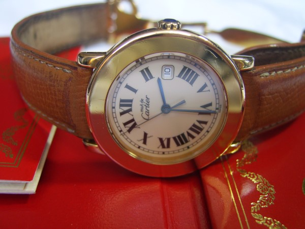 BEAUTIFUL MUST DE CARTIER VERMEIL 18K QUARTZ 32MM WATCH