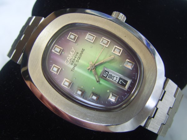 CAMY : 70'S SS CAMY TIME SQUARE AUTOMATIC DAY DATE AT 6