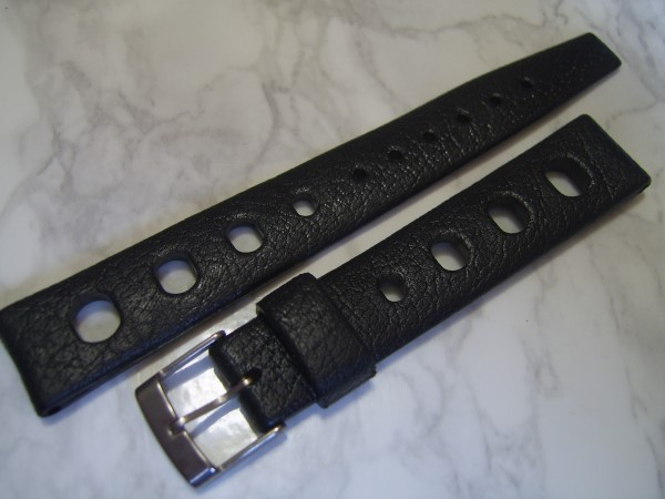 TROPIC 16MM NOS 60'S SWISS TROPIC BIG HOLES BLACK DIVE BAND STRAP