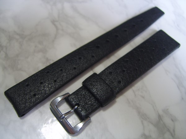 TROPIC 16MM NOS 60'S SWISS STAR PERFORATED BLACK RUBBER DIVE BAND STRAP