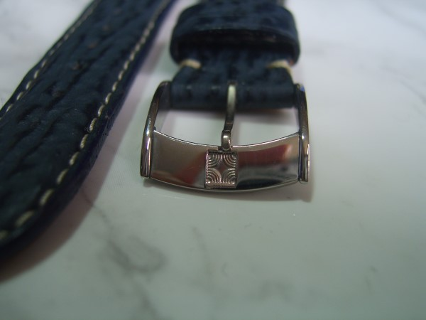 ZENITH : 18X16 MM ZENITH BLUE SHARK LEATHER STRAP + SS BUCKLE