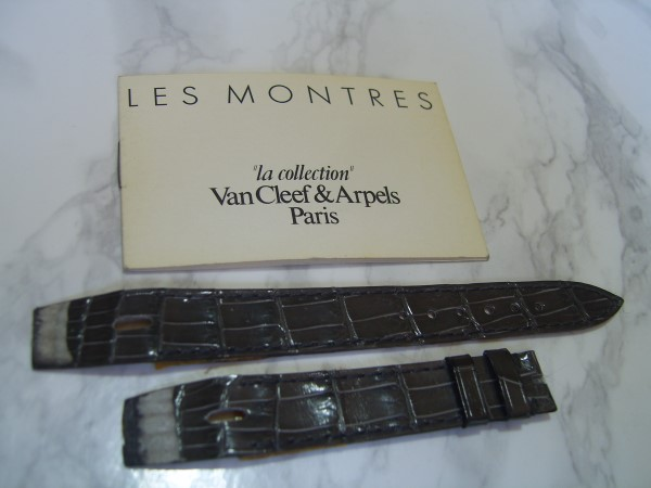 VAN CLEEF & ARPELS LA COLLECTION 16MM GREY CROCODILE STRAP + MANUAL
