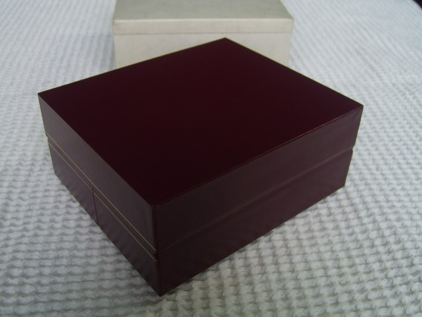 LE ROY : Vintage NOS Burgundy Leather BOX Inner & Outer