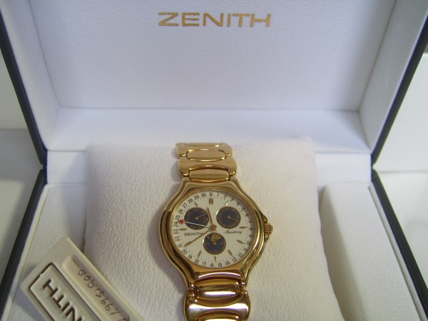 ZENITH ACADEMY : 1990'S TRIPLE CALENDAR MOONPHASE QUARTZ - NEW IN BOX