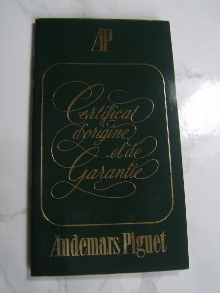 AUDEMARS PIGUET INTERNATIONAL GUARANTEE WARRANTY BOOKLET, UNUSED, BLANK, OPEN