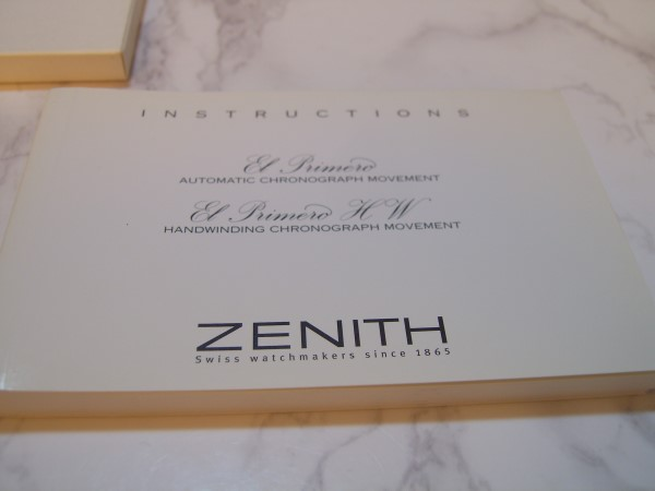 ZENITH EL PRIMERO INTERNATIONAL GUARANTEE WARRANTY BOOKLET, UNUSED, BLANK, OPEN
