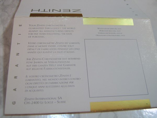ZENITH CHRONOMASTER : REF 30.0240.655/01 GUARANTEE WARRANTY BOOKLET, UNUSED, BLAN