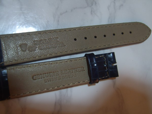 ROLEX : 18MM VINTAGE NOS BLUE CROCODILE EMBOSSED LEATHER STRAP