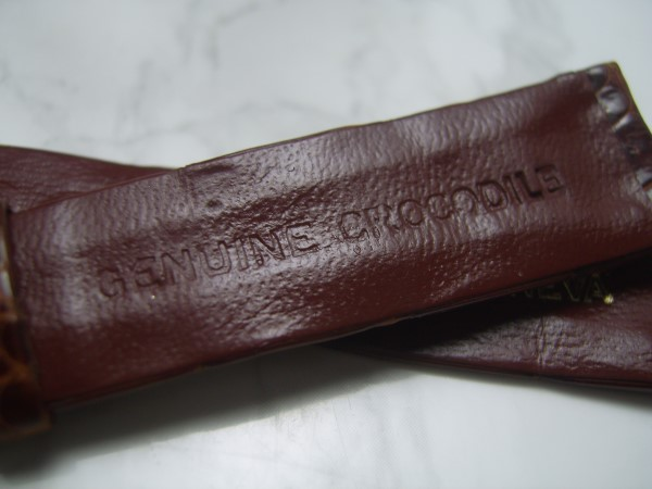 ROLEX : VINTAGE 17X14 MM ROLEX BROWN CROCODILE LEATHER BAND STRAP