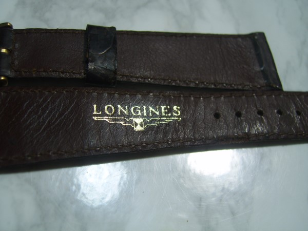 VINTAGE 20X14 MM LONGINES BROWN CROCODILE STRAP + ORIGINAL GP BUCKLE