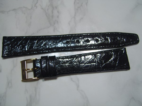ZENITH : 18MM VINTAGE NOS BLACK CROCODILE STRAP + GP ZENITH BUCKLE