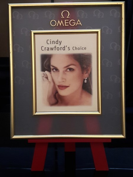 OMEGA : Vintage Watch Stand Display OMEGA CONSTELLATION Advertising Cindy Crawford's