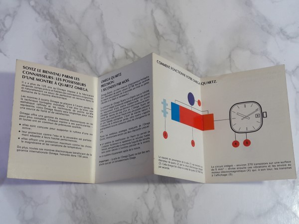 OMEGA : 1976 INSTRUCTION BOOKLET FOR OMEGA QUARTZ CAL 1320 / 1325