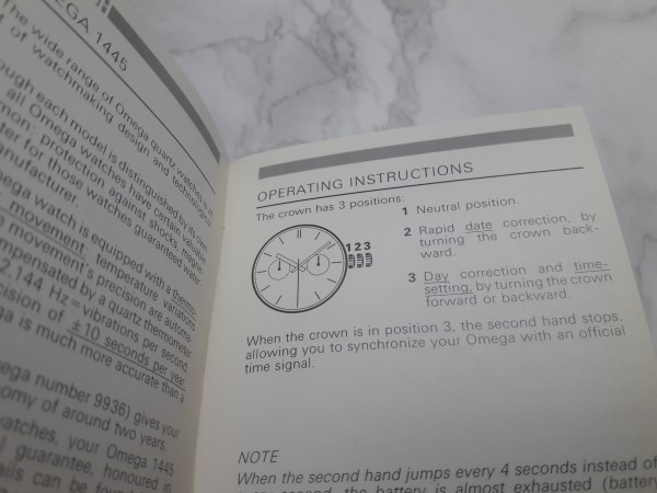 1988 INSTRUCTION MANUAL BOOKLET FOR OMEGA CONSTELLATION QUARTZ CAL 1445