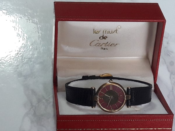 MUST DE CARTIER VERMEIL 18K QUARTZ LADIES WATCH BOX ORIGINAL CONDITION