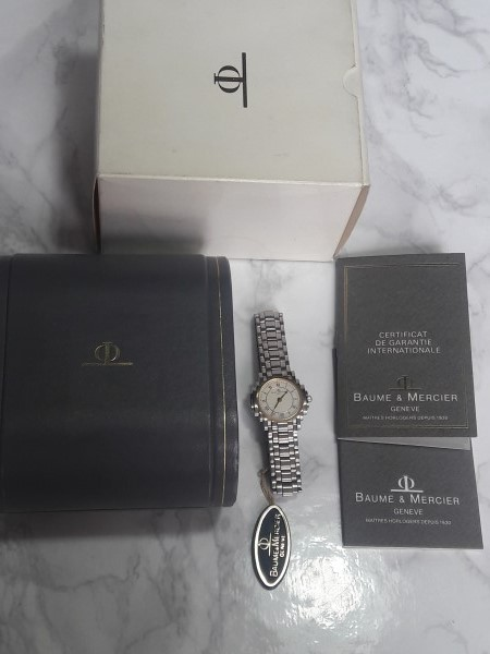NOS BAUME MERCIER SHOGUN 18K S.STEEL LADIES WATCH - BOX PAPER