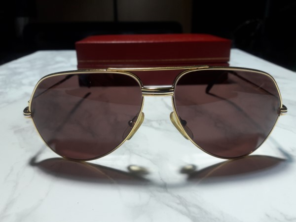 Cartier Vendome Santos Sunglasses 18k heavy gold plated Model 130 Size 59 14 (like new)