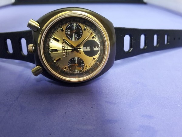 VINTAGE 1970'S CITIZEN BULLHEAD CHRONOGRAPH 67-9143 AUTOMATIC PVD COATED MODEL