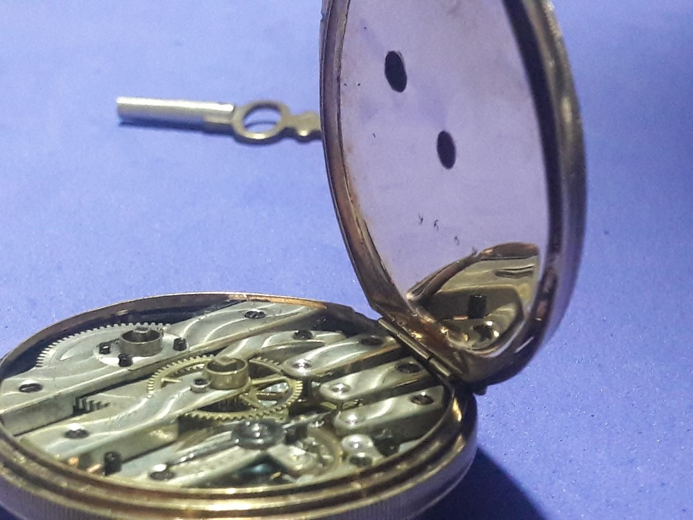 MUSEUM GRADE LOUIS MATILE 22K DIAMONDS CUT POCKET WATCH 40MM 42G