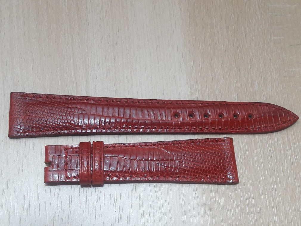 VINTAGE NOS CHOPARD 18X14 MM RED LIZARD LEATHER BAND