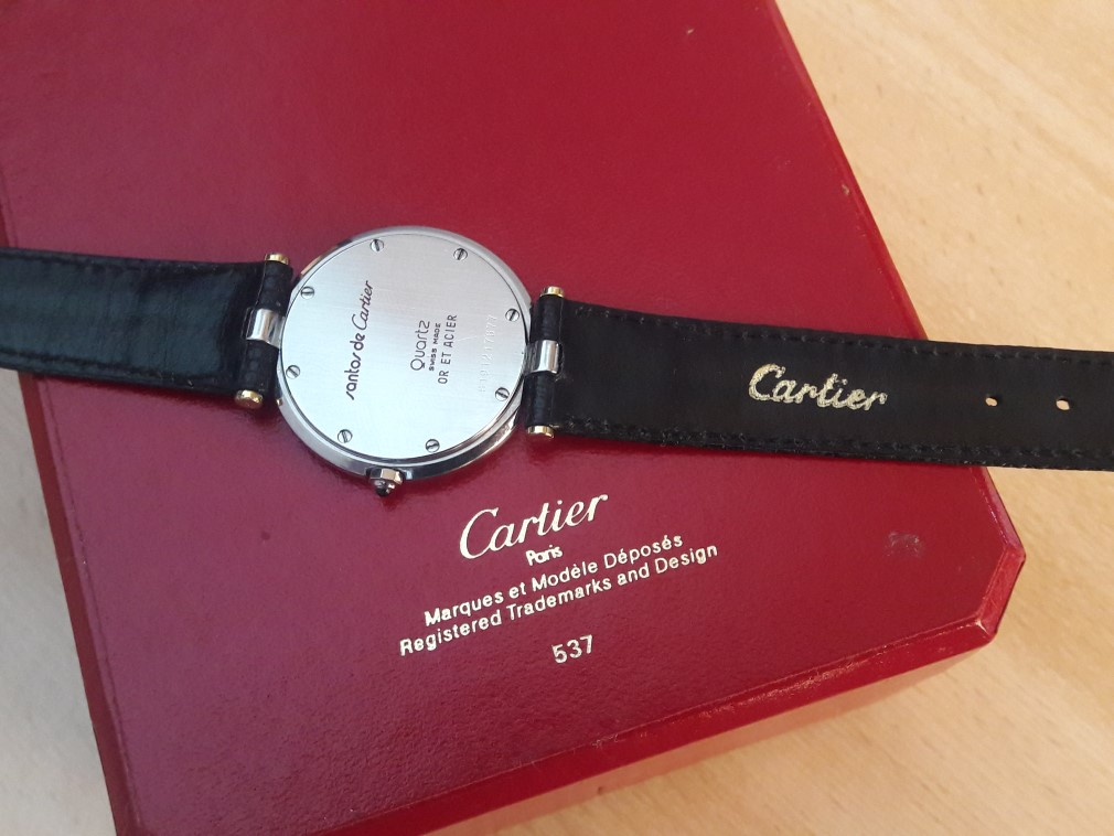 CARTIER SANTOS 18K/ STEEL QUARTZ UNISEX 32.5 MM + BOX - PRE-OWNED