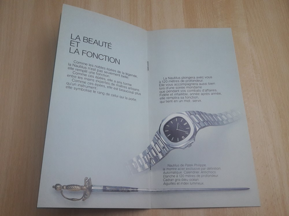 PATEK PHILIPPE NAUTILS 3700 STEEL JUMBO 1970'S FRENCH CATALOG BOOKLET BROCHURE