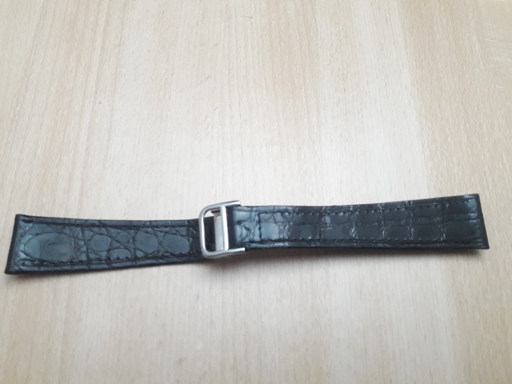 20MM BLACK LEATHER STRAP STEEL DEPLOYMENT CLASP REPLACEMENT FOR CARTIER
