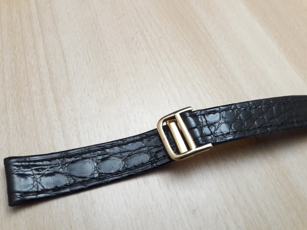 16MM BLACK LEATHER GOLD PLATED DEPLOYMENT CLASP REPLACEMENT FOR CARTIER