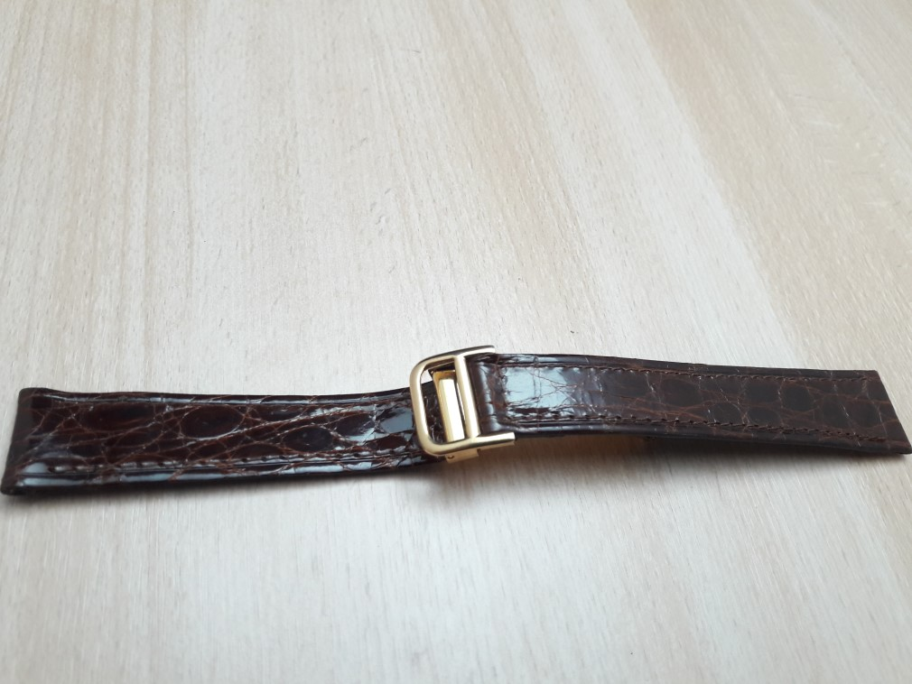 18MM BROWN LEATHER GOLD PLATED DEPLOYMENT CLASP REPLACEMENT FOR CARTIER