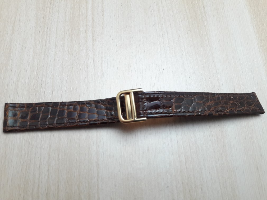 16MM BROWN LEATHER GOLD PLATED DEPLOYMENT CLASP REPLACEMENT FOR CARTIER