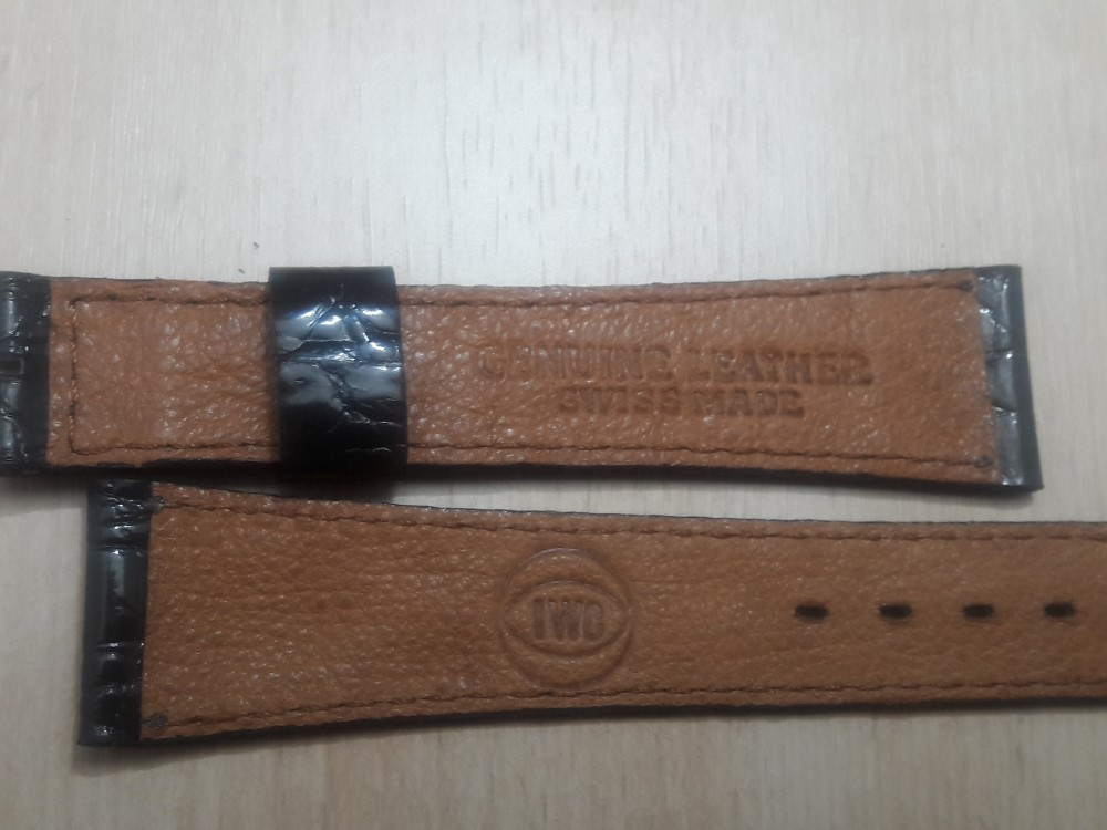 VINTAGE 18X14 MM IWC DARK BROWN CROCODILE LEATHER BAND