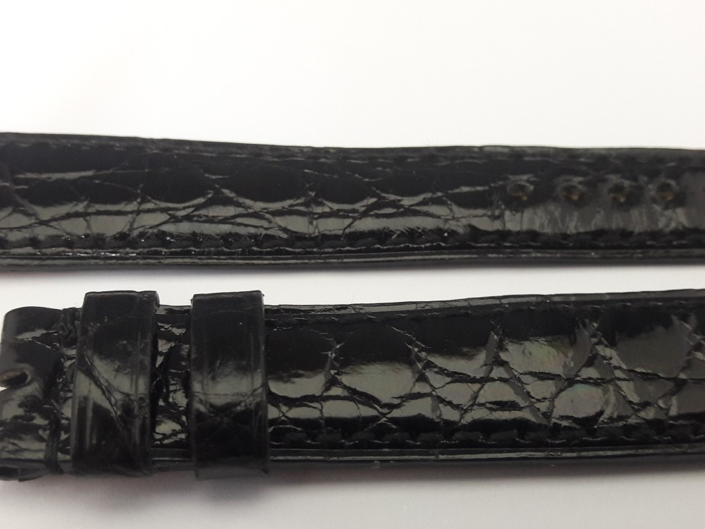 AUDEMARS PIGUET 16MM BLACK CROCODILE LEATHER BAND STRAP
