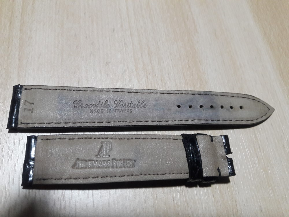 AUDEMARS PIGUET : 17MM VINTAGE NOS BLACK CROCODILE LEATHER BAND STRAP