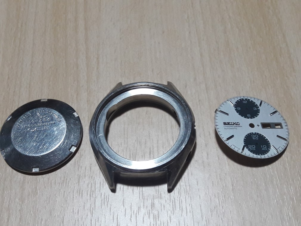 SEIKO CHRONOGRAPH 6138-8020 PANDA CASE & DIAL AS IS FOR PARTS