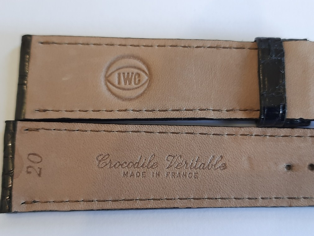 IWC 20MM VINTAGE BLACK CROCODILE LEATHER BAND STRAP