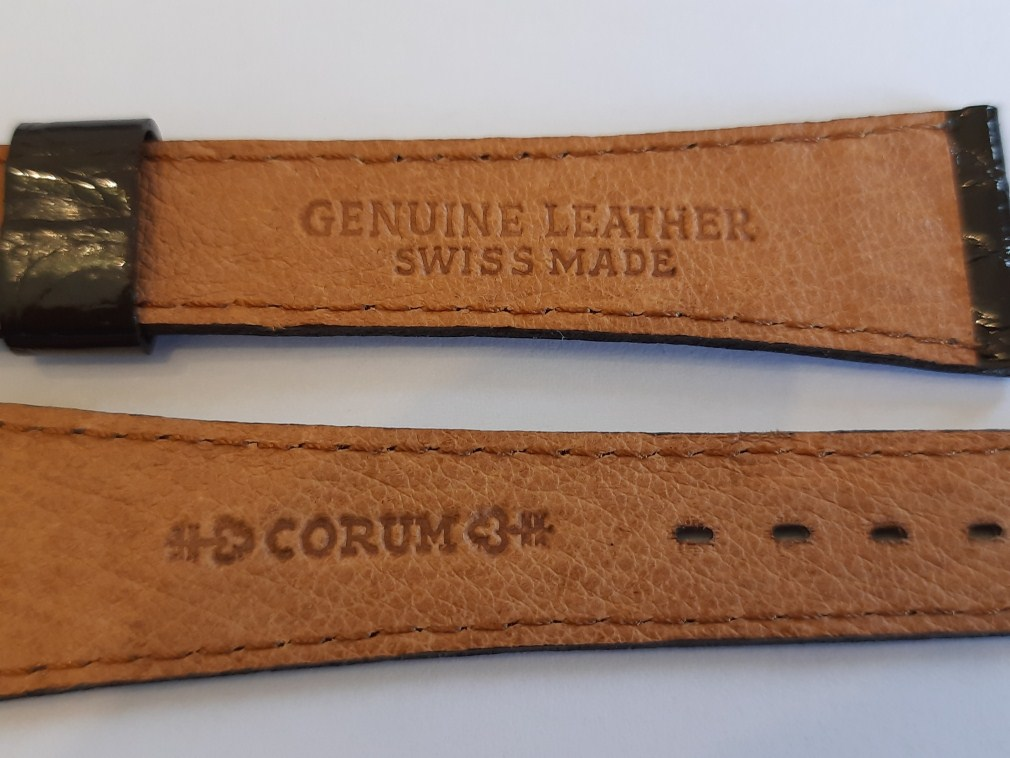 CORUM 20MM 1970'S VINTAGE NOS SHINY DARK BROWN CROCODILE BAND STRAP