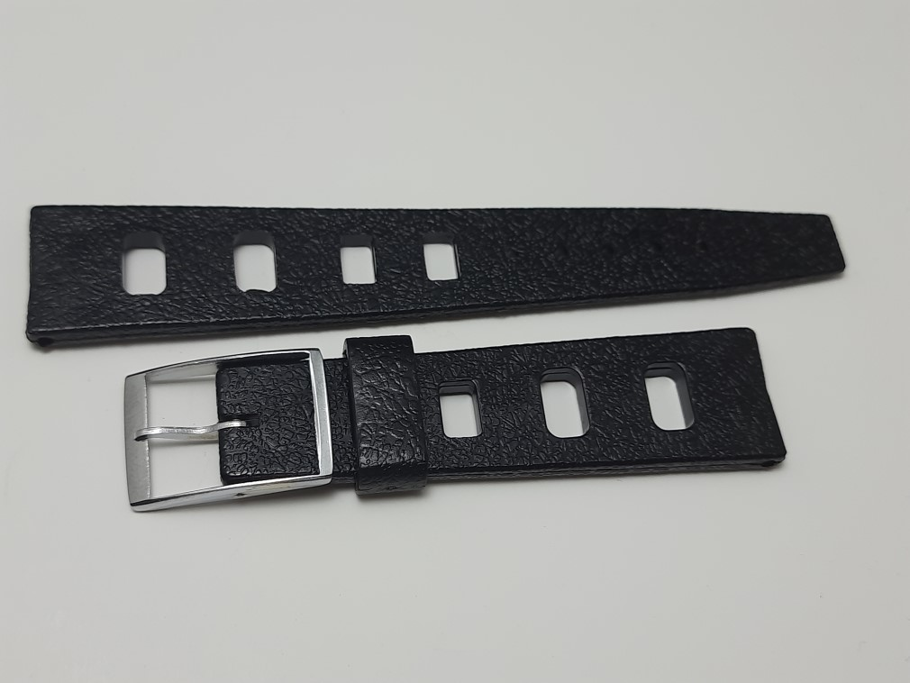 VINTAGE 1960's 20MM TROPIC STYLE BLACK RUBBER STRAIGHT END WATCH STRAP