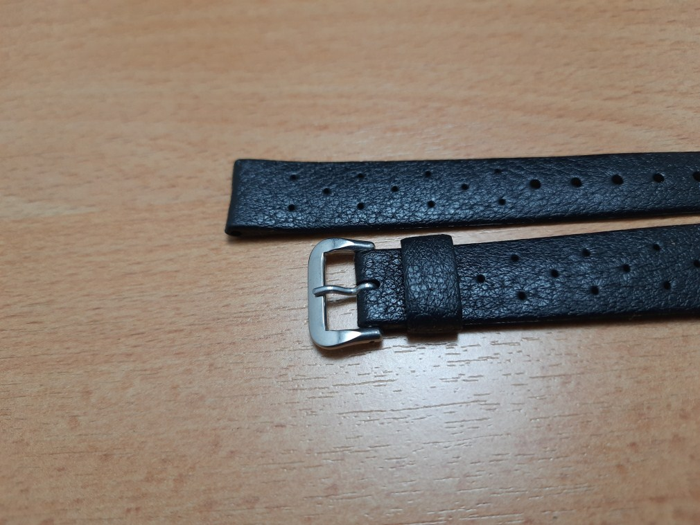 AUTHENTIC 60'S NOS TROPIC 16MM SWISS PERFORATED BLACK RUBBER BAND STRAP