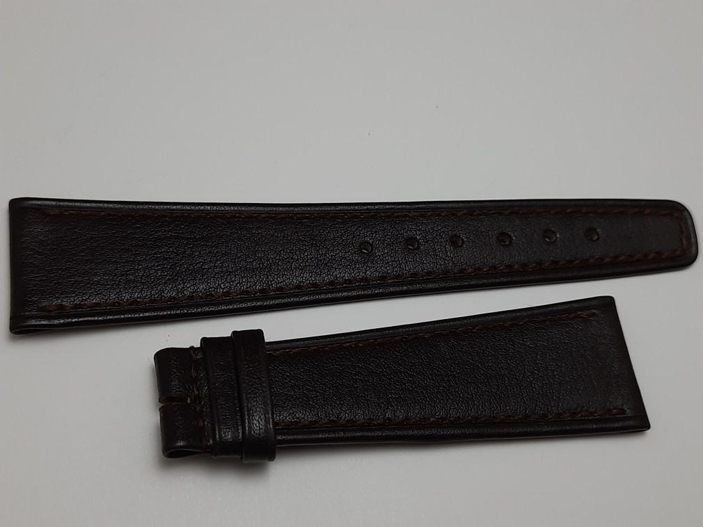 VINTAGE NOS 22.5X16 MM PATEK PHILIPPE DARK BROWN LEATHER BAND STRAP