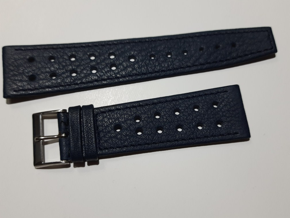 1960/70'S 22MM BLUE PERFORATED SWISS STRAP HEUER MONACO SILVESRSTONE ...