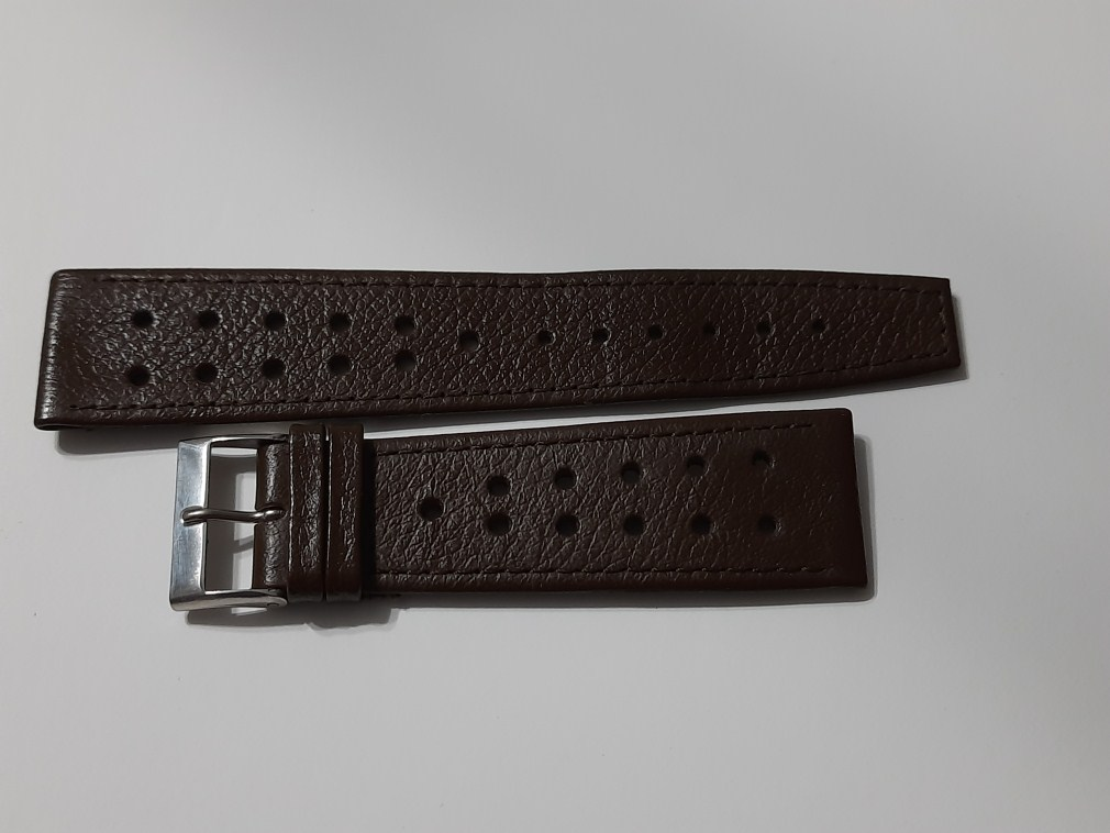 1960/70'S 22MM BROWN PERFORATED SWISS STRAP HEUER MONACO SILVESRSTONE ...