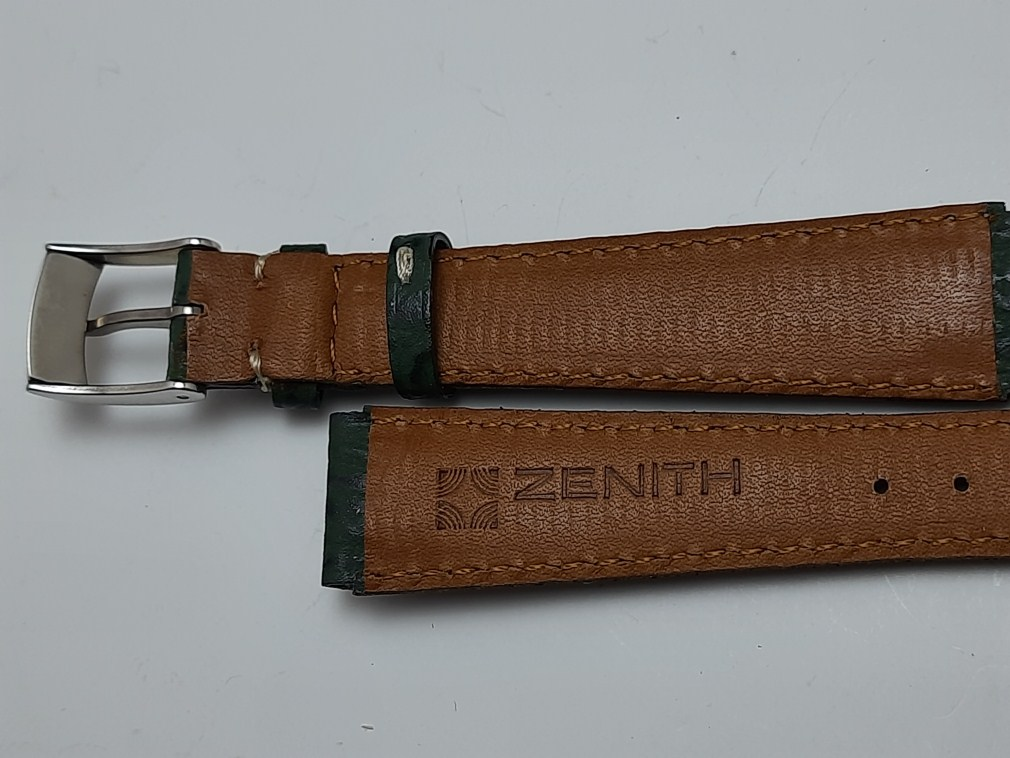 GENUINE OEM ZENITH 15X12 MM LADIES GREEN SHARK LEATHER STRAP + SS BUCKLE