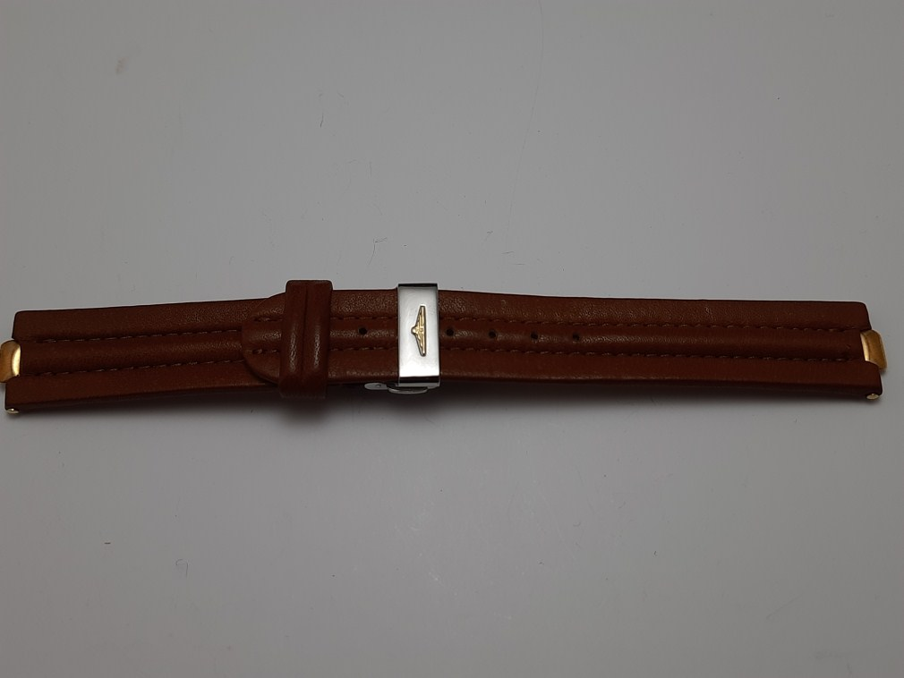 RARE 18MM LONGINES CONQUEST BROWN CALFSKIN STRAP + SIGNED DEPLOYMENT BUCKLE