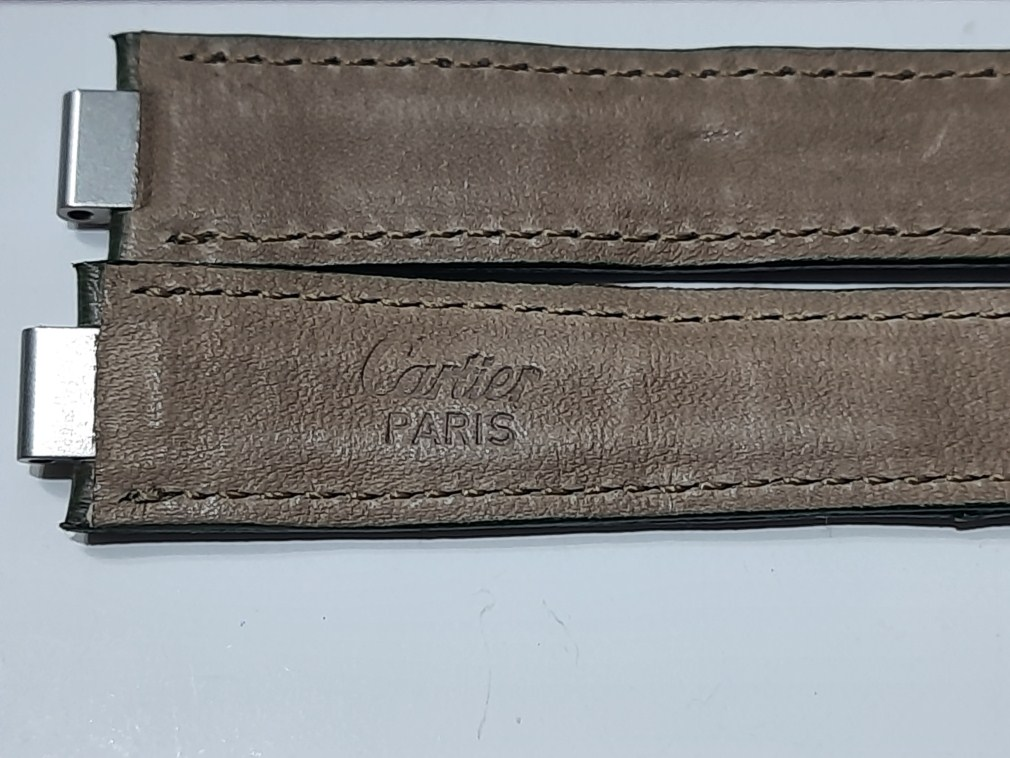 CARTIER MUST 21 OEM 16.5MM GREEN OSTRICH LEATHER STRAP AUTHENTIC - FACTORY PACKAGI