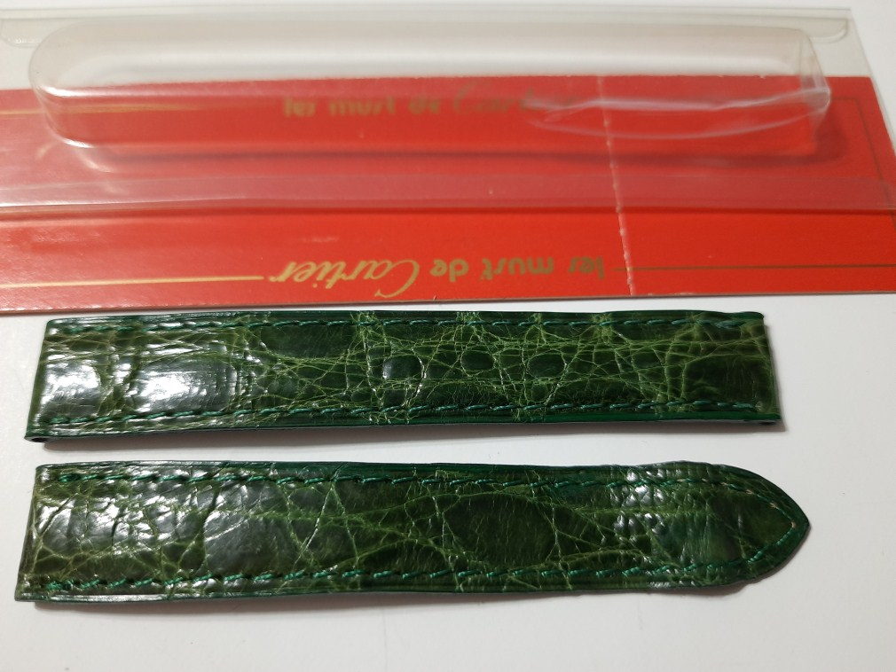 15MM LADIES CARTIER TANK OEM GREEN ALLIGATOR STRAP DEPLOYMENT - FACTORY PACKAGING
