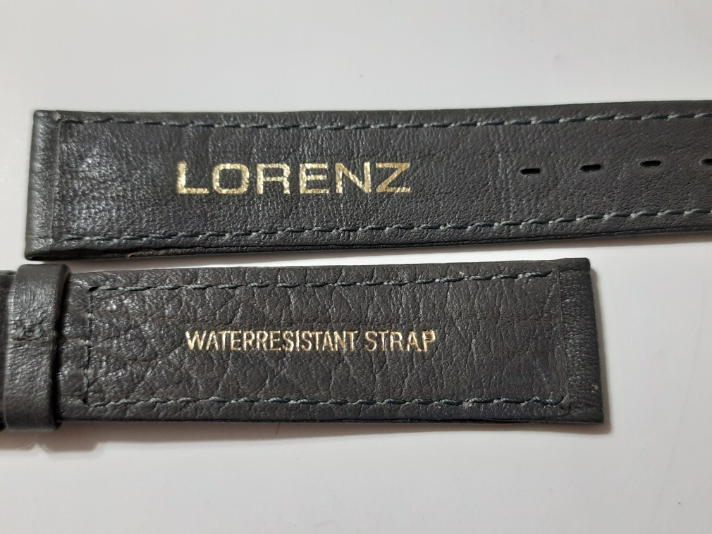 VINTAGE 1970'S NOS GENT'S 18MM LORENZ GREY LEATHER BAND STRAP