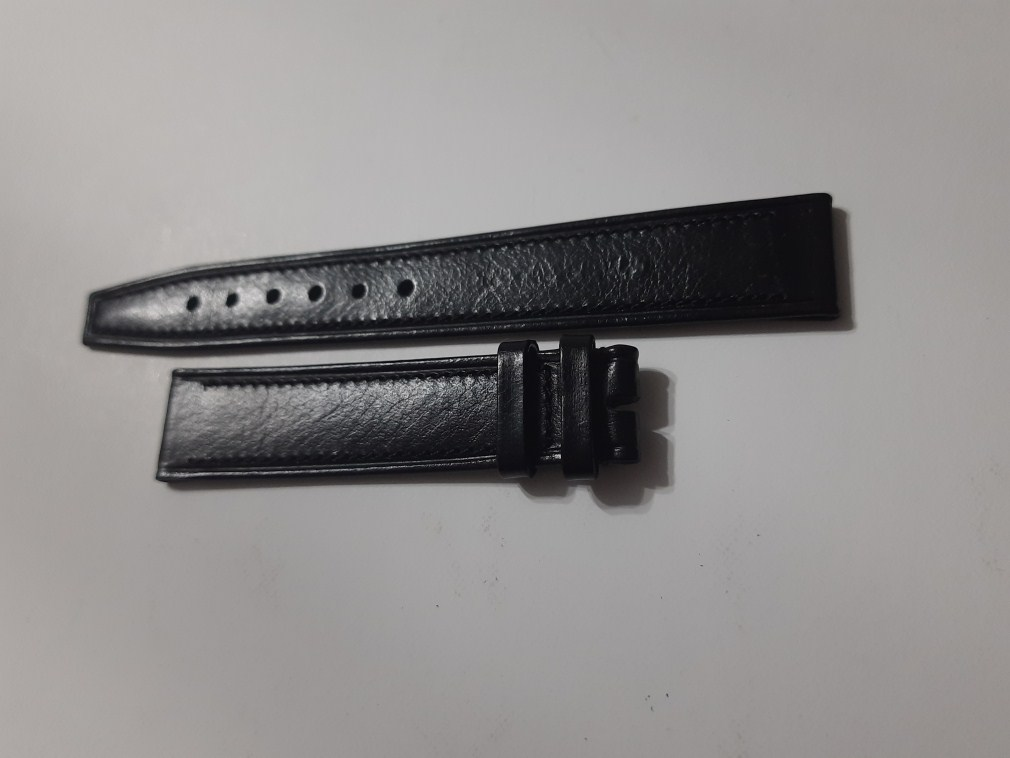VINTAGE NOS 17X15 MM CORUM BLACK LEATHER STRAP